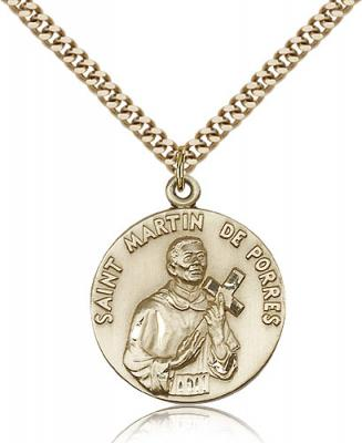 "Gold Filled St. Martin de Porres Pendant, Stainless Gold Heavy Curb Chain, 1"" x 7/8"""