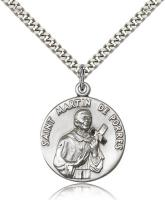 "Sterling Silver St. Martin de Porres Pendant, Stainless Silver Heavy Curb Chain, 1"" x 7/8"""