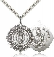 "Sterling Silver Our Lady of Guadalupe / Martin de Porre, Stainless Silver Heavy Curb Chain, 1 1/4"" x 1 1/8"""
