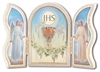 GOLD EMBOSSED WHITE COMMUNION TRIPTYCH