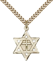 "Gold Filled Star of David W/ Cross Pendant, Stainless Gold Heavy Curb Chain, 7/8"" x 5/8"""