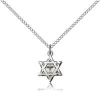 "Sterling Silver Star of David W/ Cross Pendant, Stainless Silver Heavy Curb Chain, 7/8"" x 5/8"""