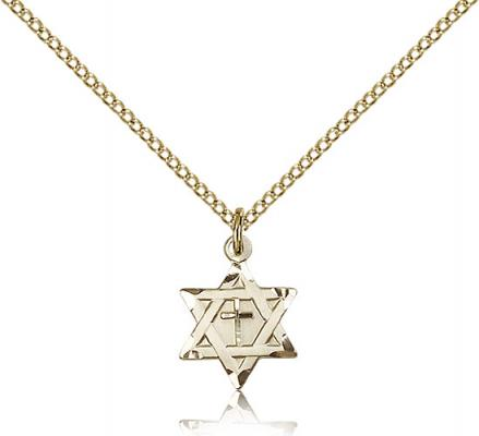 "Gold Filled Star of David W/ Cross Pendant, Gold Filled Lite Curb Chain, 1/2"" x 3/8"""
