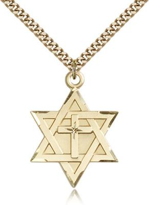 "Gold Filled Star of David W/ Cross Pendant, Stainless Gold Heavy Curb Chain, 1 1/4"" x 7/8"""