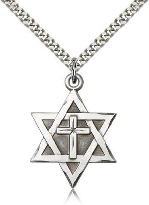 "Sterling Silver Star of David W/ Cross Pendant, Stainless Silver Heavy Curb Chain, 1 1/4"" x 7/8"""