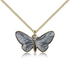 "Gold Filled Butterfly Pendant, Gold Filled Lite Curb Chain, 1/2"" x 1"""
