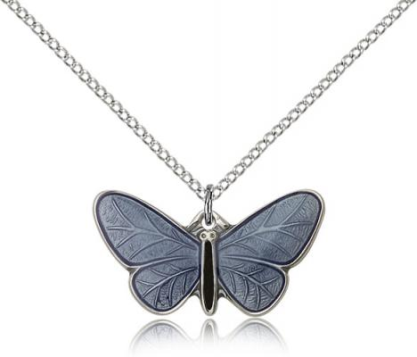 "Sterling Silver Butterfly Pendant, Sterling Silver Lite Curb Chain, 1/2"" x 1"""