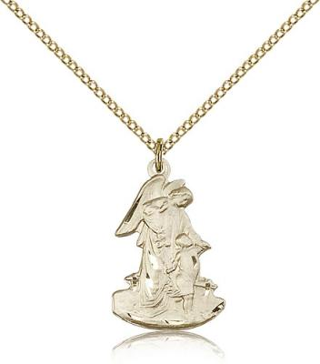 "Gold Filled Guardian Angel Pendant, Gold Filled Lite Curb Chain, 7/8"" x 1/2"""