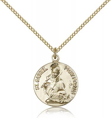 "Gold Filled St. Gabriel of the Blessed Virgin Pend, Gold Filled Lite Curb Chain, 3/4"" x 5/8"""