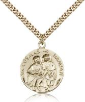 "Gold Filled Sts. Cosmos & Damian Pendant, Stainless Gold Heavy Curb Chain, 1"" x 7/8"""
