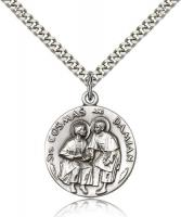 "Sterling Silver Sts. Cosmos & Damian Pendant, Stainless Silver Heavy Curb Chain, 1"" x 7/8"""