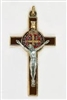 Saint Benedict Gold Tone Brown Enamel Cross 139-11-1038