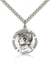 "Sterling Silver St. Ann Pendant, Stainless Silver Heavy Curb Chain, 1"" x 7/8"""