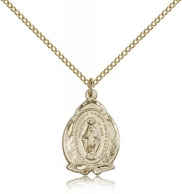 "Gold Filled Miraculous Pendant, Gold Filled Lite Curb Chain, 3/4"" x 1/2"""