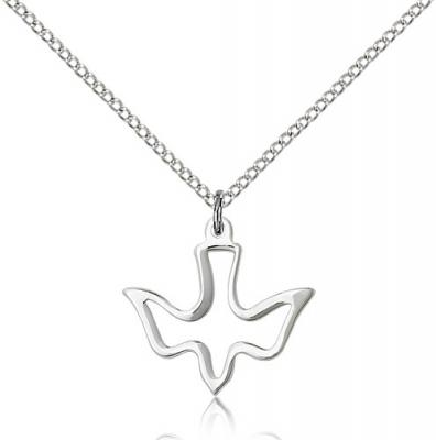 "Sterling Silver Holy Spirit Pendant, Sterling Silver Lite Curb Chain, 3/4"" x 3/4"""