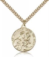 "Gold Filled St. Anthony Pendant, Stainless Gold Heavy Curb Chain, 7/8"" x 3/4"""