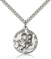 "Sterling Silver St. Anthony Pendant, Stainless Silver Heavy Curb Chain, 7/8"" x 3/4"""