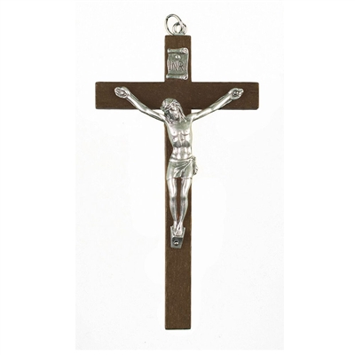 "Small 5"" Brown Wood Wall Crucifix 16-103-02"