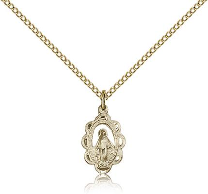 "Gold Filled Miraculous Pendant, Gold Filled Lite Curb Chain, 5/8"" x 3/8"""