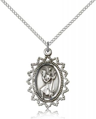 "Sterling Silver St. Christopher Pendant, Sterling Silver Lite Curb Chain, 1"" x 3/4"""