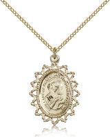"Gold Filled Our Lady of Perpetual Help Pendant, Gold Filled Lite Curb Chain, 1"" x 3/4"""