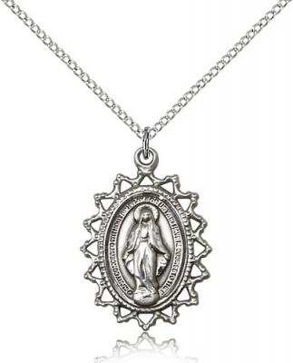 "Sterling Silver Miraculous Pendant, Sterling Silver Lite Curb Chain, 1"" x 3/4"""