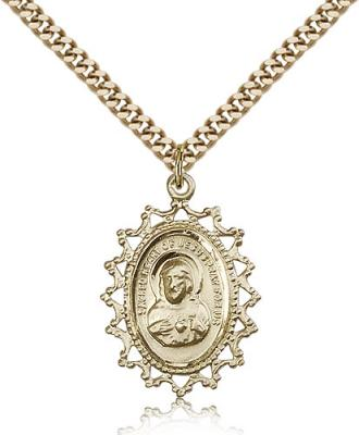 "Gold Filled Scapular Pendant, Stainless Gold Heavy Curb Chain, 1"" x 3/4"""