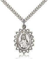 "Sterling Silver Scapular Pendant, Stainless Silver Heavy Curb Chain, 1"" x 3/4"""