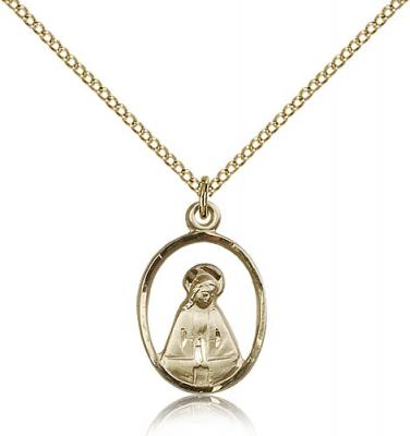 "Gold Filled Madonna Pendant, Gold Filled Lite Curb Chain, 3/4"" x 1/2"""