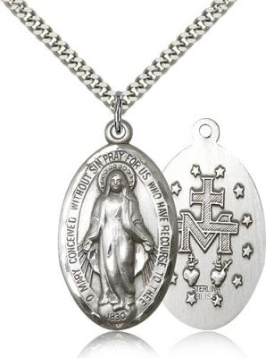 "Sterling Silver Miraculous Pendant, Stainless Silver Heavy Curb Chain, 1 3/8"" x 3/4"""