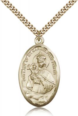"Gold Filled Our Lady of Mount Carmel Pendant, Stainless Gold Heavy Curb Chain, 1 3/8"" x 3/4"""