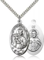"Sterling Silver Our Lady of Mount Carmel Pendant, Stainless Silver Heavy Curb Chain, 1 3/8"" x 3/4"""
