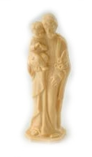 4 inch Saint Joseph and Child Tan Statue