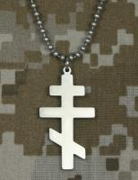 "Military Orthodox Cross with Beaded 24"" Chain"