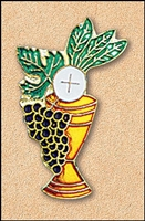 Chalice & Grapes Enamel Communion Lapel Pin