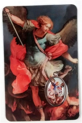 Saint Michael Laminated with Medal Holy Card