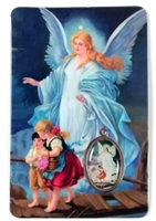 Guardian Angel Laminated with Medal Holy Card