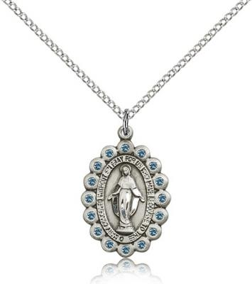 "Sterling Silver Miraculous Pendant, Sterling Silver Lite Curb Chain, 7/8"" x 5/8"""