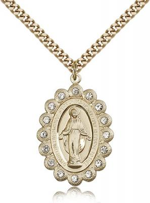 "Gold Filled Miraculous Pendant, Stainless Gold Heavy Curb Chain, 1 1/8"" x 3/4"""