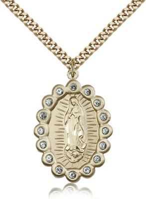 "Gold Filled Our Lady of Guadalupe Pendant, Stainless Gold Heavy Curb Chain, 1 1/4"" x 7/8"""