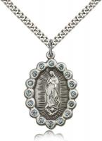 "Sterling Silver Our Lady of Guadalupe Pendant, Stainless Silver Heavy Curb Chain, 1 1/4"" x 7/8"""
