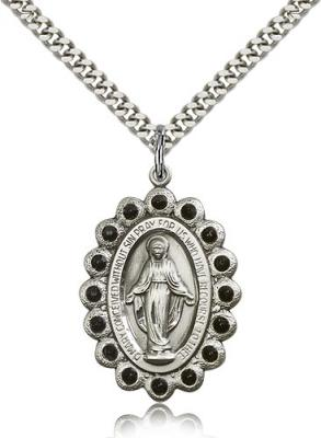 "Sterling Silver Miraculous Pendant, Stainless Silver Heavy Curb Chain, 1 1/8"" x 3/4"""