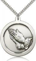 "Sterling Silver Praying Hand Pendant, Stainless Silver Heavy Curb Chain, 1 5/8"" x 1 3/8"""