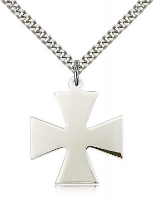 "Sterling Silver Surfer Cross Pendant, Stainless Silver Heavy Curb Chain, 1 1/8"" x 1"""