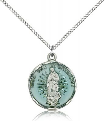"Sterling Silver Our Lady of Guadalupe Pendant, Sterling Silver Lite Curb Chain, 7/8"" x 3/4"""