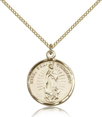 "Gold Filled Our Lady of Guadalupe Pendant, Gold Filled Lite Curb Chain, 7/8"" x 3/4"""