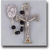 Immaculate and Sacred Heart Black Rosary