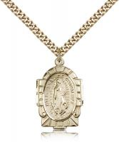 "Gold Filled Our Lady of Guadalupe Pendant, Stainless Gold Heavy Curb Chain, 1"" x 5/8"""