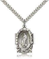 "Sterling Silver Our Lady of Guadalupe Pendant, Stainless Silver Heavy Curb Chain, 1"" x 5/8"""