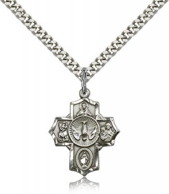 "Sterling Silver 5-Way Pendant, Stainless Silver Heavy Curb Chain, 7/8"" x 3/4"""